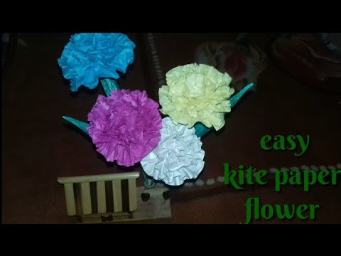 DIY : How to make a flower with kite paper.Very beautiful flower.