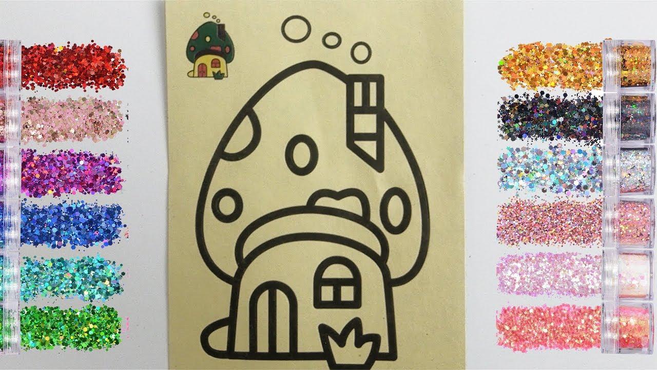 Mushroom House Sand Painting L Belajar Mewarnai Rumah Jamur Dengan Glitter
