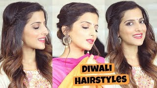 2 Easy Hairstyles For Diwali For Medium To Long Hair | Diwali Hairstyle 2018 | Knot Me Pretty