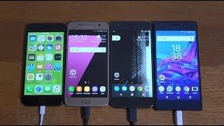 Google Pixel vs iPhone 7 vs Samsung Galaxy S7 vs Xperia XZ - Battery Test!