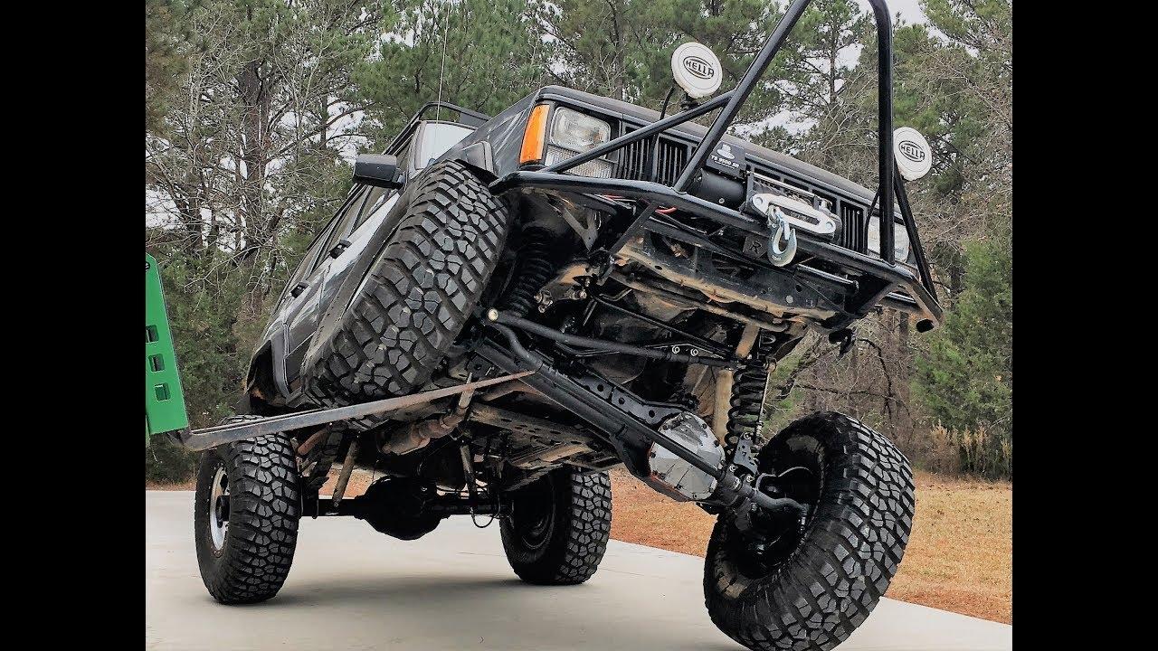 Jeep XJ 1 Ton Superduty Swap Flex Test   1994 Jeep Cherokee XJ 8 5 inch  Long Arm