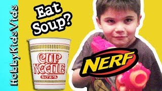 How Hobbypig Eats Cup-o-noodles Soup? With A Nerf Blaster By Hobbykidsvids
