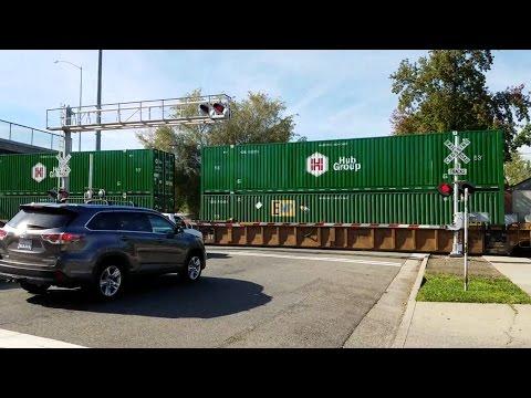 W Street Railroad Crossing, UP 2603 Intermodal Northbound and Sacramento Light Rail, Sacramento CA