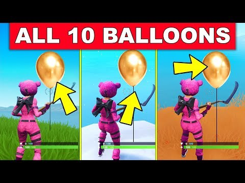 """POP 10 GOLDEN BALLOONS"" - ALL 10 LOCATIONS LOCATION WEEK 9 CHALLENGES FORTNITE SEASON 7"