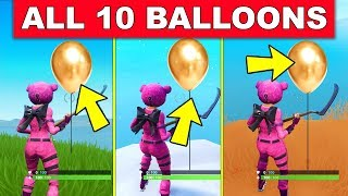 """POP 10 GOLDEN BALLOONS"" - ALL 10 LOCATIONS WEEK 9 CHALLENGES FORTNITE SEASON 7"