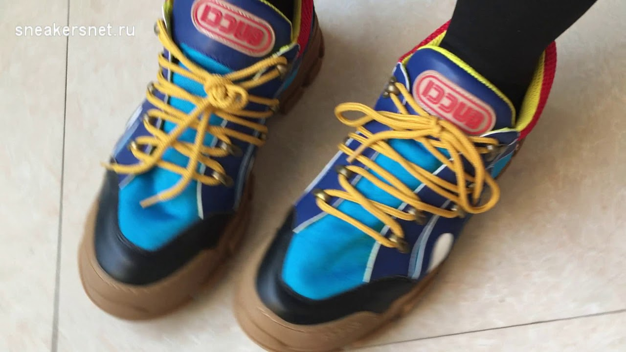 df6c01f8d93 On foot  Gucci Flashtrek High Top Sneaker Blue Red Yellow - YouTube