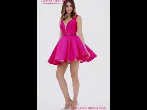 Fuchsia Pink Deep V-Neckline A-Line Cocktail Dress