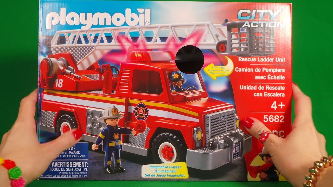 Playmobil Fire Truck 5692 Unboxing Rescue Ladder Unit City