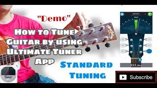 अल्टीमेट ट्यूनर ऐप स्टैंडर्ड ट्यूनिंग (डेमो) का उपयोग करके गिटार को कैसे ट्यून करें screenshot 1