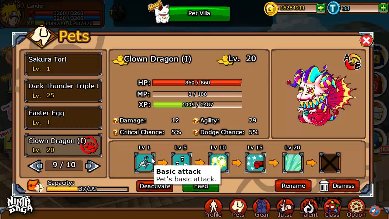 Ninja Saga Easter Event 2014 Clown Dragon I Pet Skills Youtube
