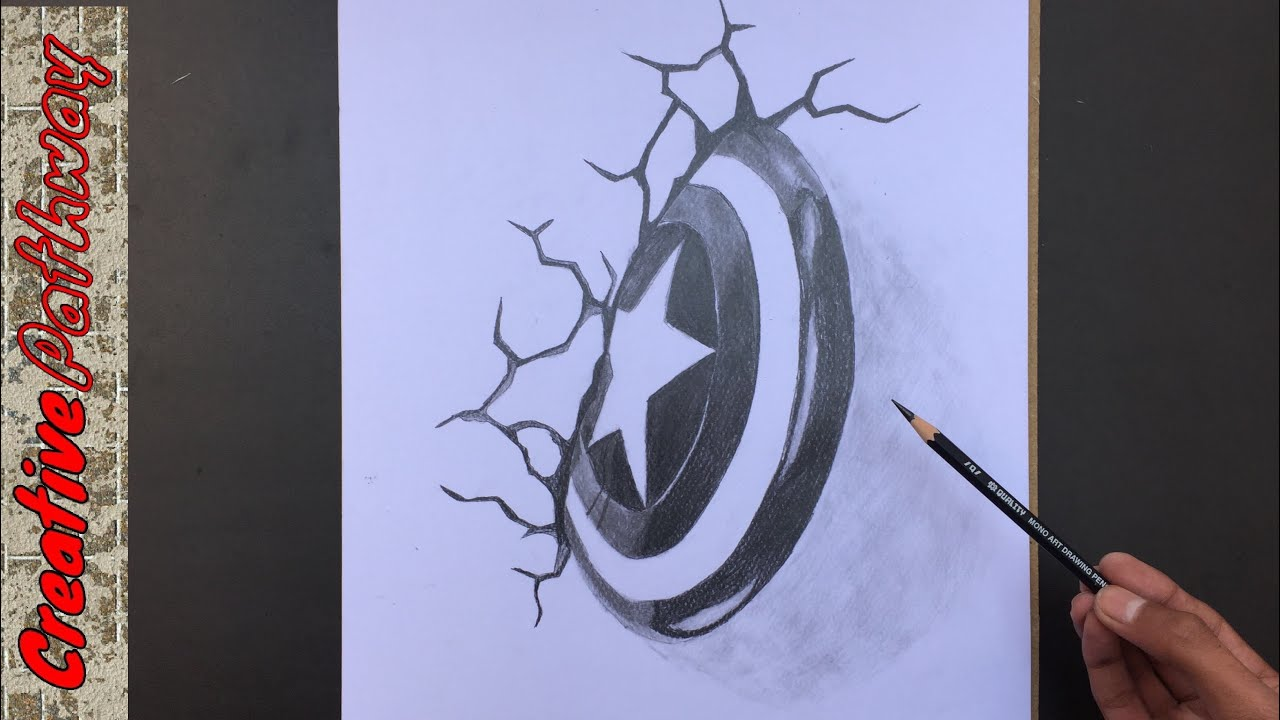 Captain America Shield Drawing: Drawing 3D Captain America Shield In Wall