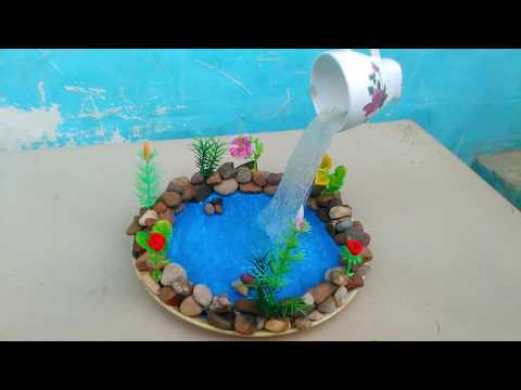 waterfall from hot glue gun and cup plate showpiece craft. fountain making, Gk craft.
