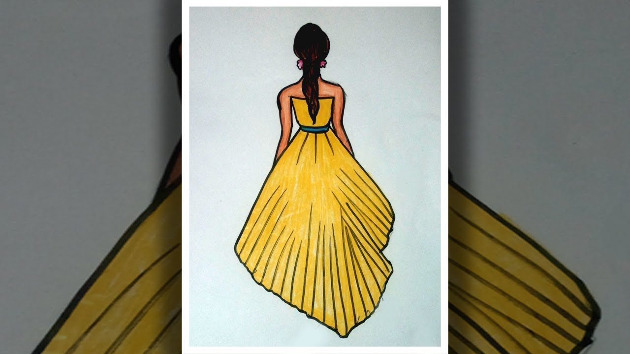 How To Draw A Dress Design Drawing Dress For Beginners Fashion Designer Drawing Step By Step Youtube