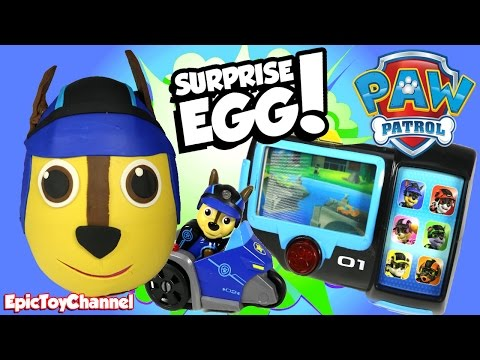 Thumbnail: SURPRISE EGGS Paw Patrol Chase Giant Surprise + New Paw Patrol Mission Pup Pad & New Dino Blaze