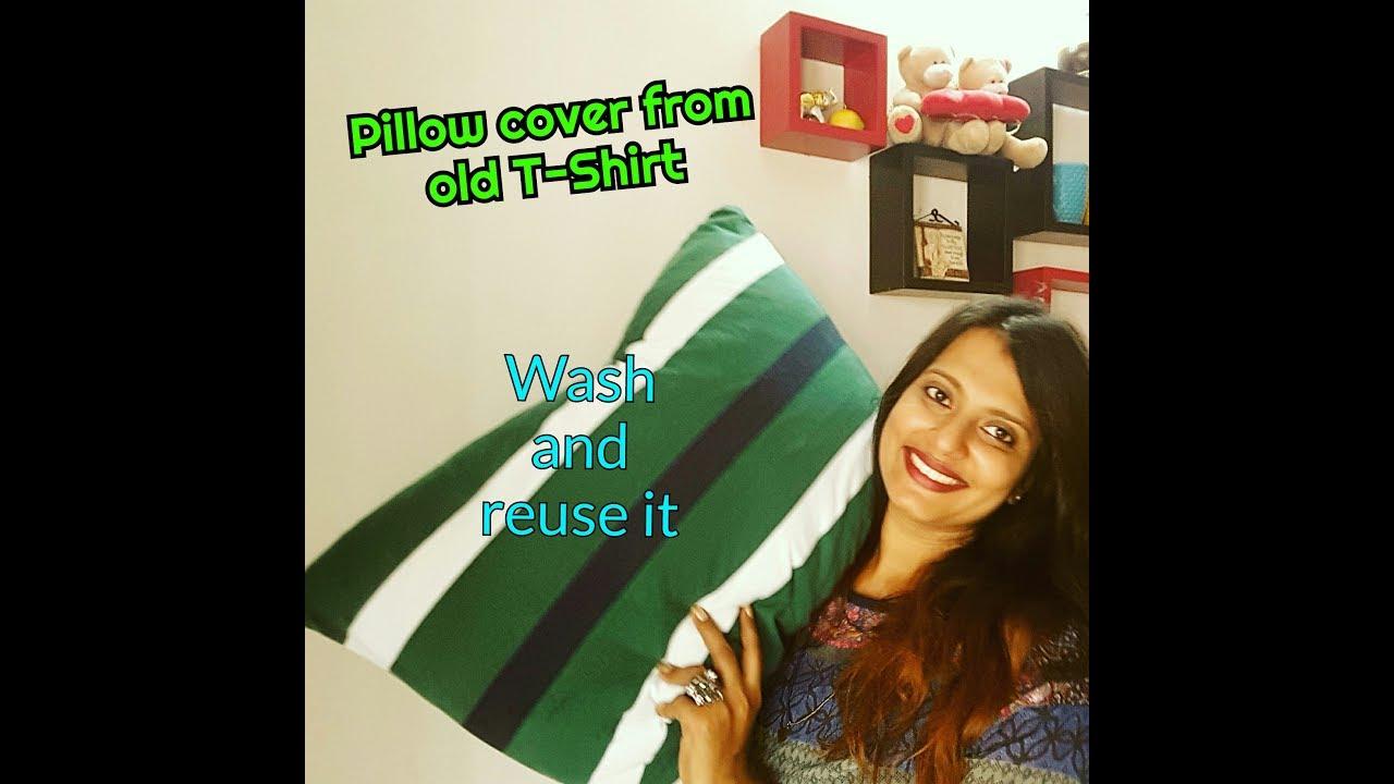 DIY Pillow cover from old T-Shirt | DIY pillowcase | Reusable \u0026 washable | Daleeyasworld