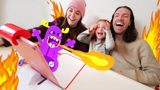 PET MONSTER PROBLEMS!!  Learning at home routine with Adley and Osmo, bring art to life app magic!
