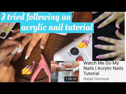 I tried following Natalie Carmona's acrylic nail tutorial video thumbnail