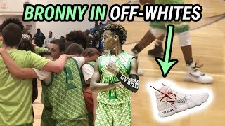 Bronny James Swags Out In FLYKNIT OFF-WHITES! Leads Team With Rodney Gallagher To 3-0 Day 🔥