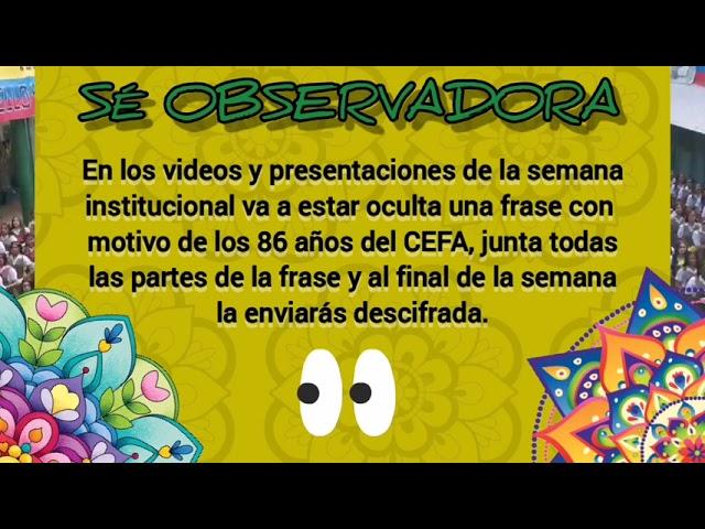 Video promocional carrera de observación micrositio CEFA Semana Institucional