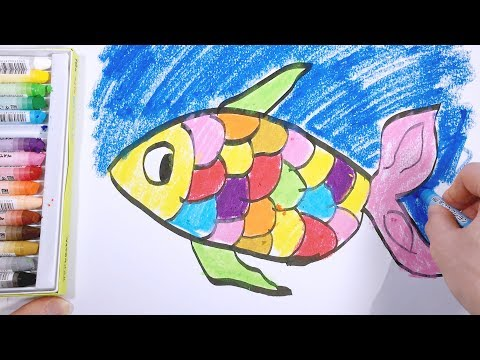 Coloring Drawing and Painting Apple and Fish for Kids & Toddlers | Learn Color