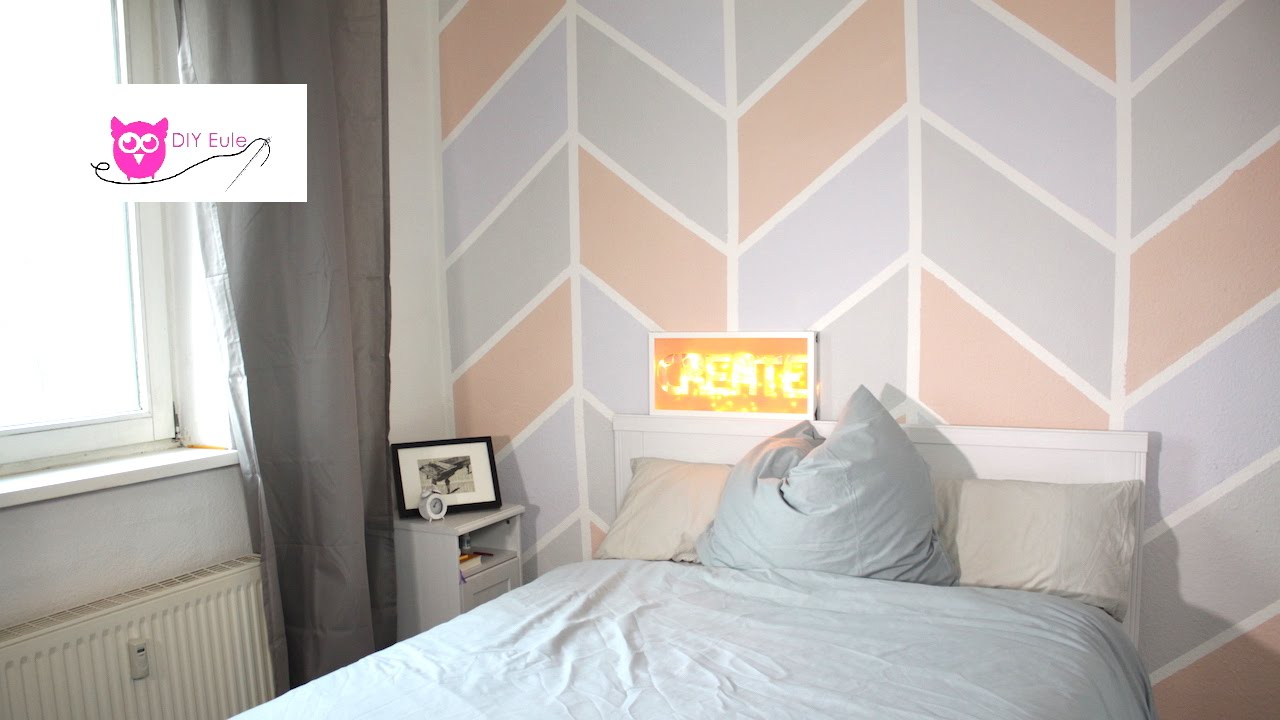 wand streichen bunt im chevron muster diy eule youtube. Black Bedroom Furniture Sets. Home Design Ideas