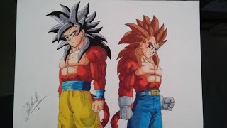 DRAGON BALL Z HOW TO DRAW GOKU AND VEGETA SSJ4  COPIC DRAWING DIBUJO 図 悟空とベジータssj4