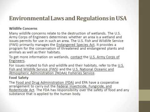 Environmental Laws and Regulations in USA