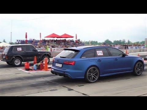 1500 HP Lada Turbo Niva PRO Vs Audi RS6 Vs Audi RS3 - Drag Race And Burnouts