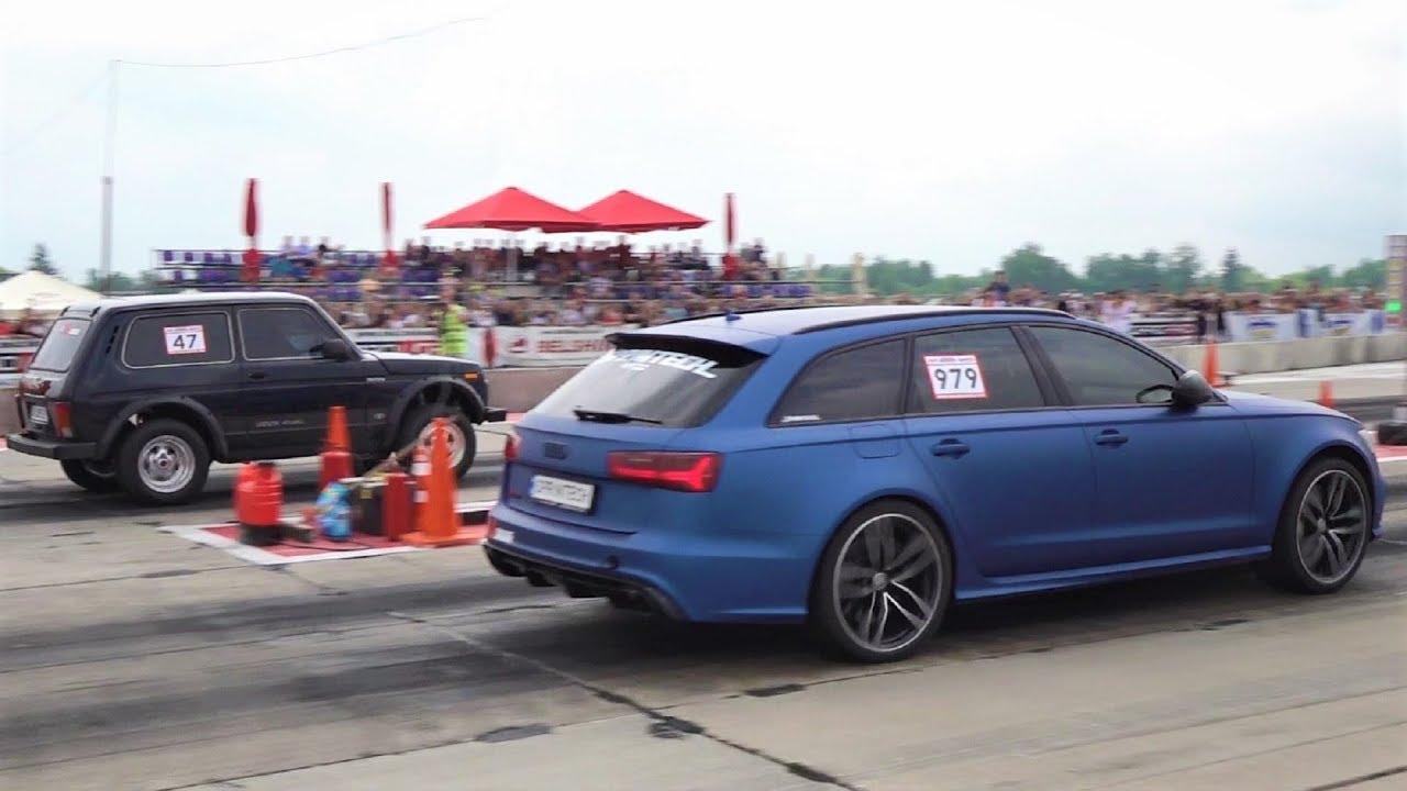 Лудата украйнска ЛАДА Niva срещу Audi RS6 и Audi RS3