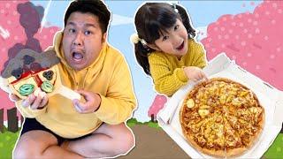 パパがピザを焦がしちゃった!宅配ピザをたのんでお家でお花見たいけん!?