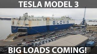 Big load of Model 3 arriving in Oslo