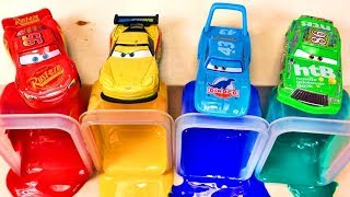Learn the color with Disney Cars Lightning Mcqueen Toys, colorful water for children! 英語の色を学ぶ 子供向け