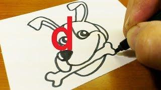 Cómo activar la Letra de ''d'' en un PERRO de dibujos animados - Alfabeto doodle de dibujo paso a paso