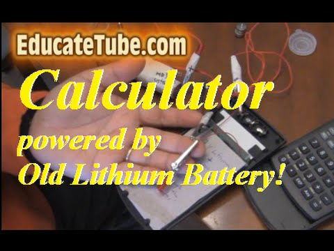 How to power a calculator with an old rechargeable lithium battery from laptop or electronics
