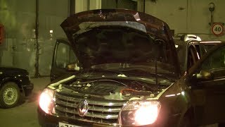 Renault Duster,замена лампочек оптики