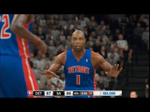 NBA 2K17 - 04-05 Spurs vs 03-04 Pistons - Sheed/Duncan and a big 4th for GINOBILI! - PC MOD - HD
