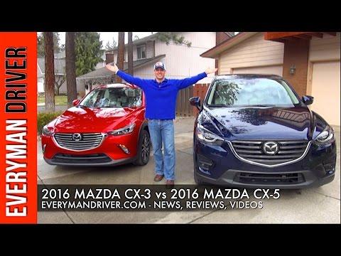 2016 mazda cx-3 vs. 2016 mazda cx-5 on everyman driver - youtube
