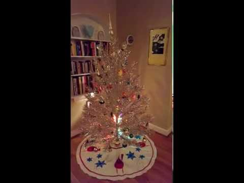 Vintage Tinsel Tree with Rotating Musical Base and Color Wheel