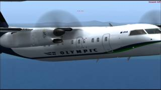 fs2004 bombardier q100 olympic air flight from  Athens to  Chios.
