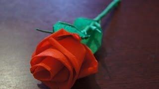 Цветы из бумаги- Как сделать розу из гофрированной бумаги(Цветы из бумаги - маленький сувенир, который можно подарить на день Святого Валентина, День матери, да и..., 2014-01-29T16:46:19.000Z)