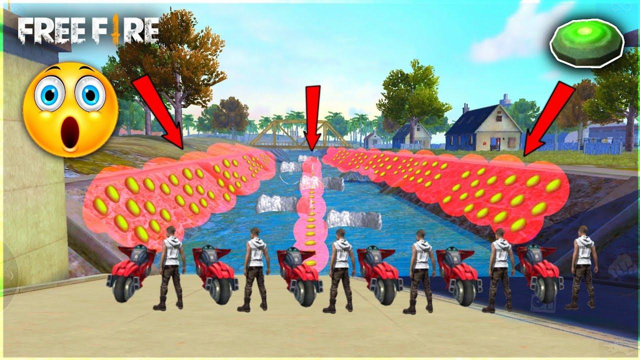 Free Fire Bike Race In Water - Unlimited Landmine vs 49 Players & Glow Wall - Garena Free Fire