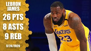 Los angeles lakers star lebron james contributes 26 points, nine rebounds and eight assists as his team wins a crucial game 4 over the denver nuggets in ...