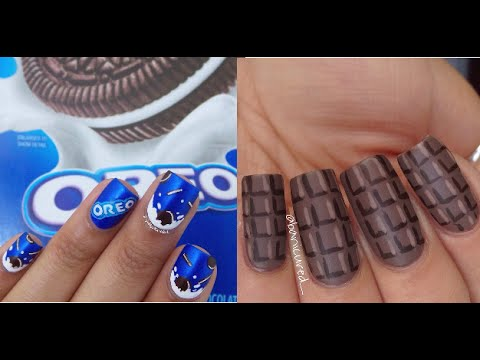 Tutorial For Simple Oreo And Chocolate Nail Art