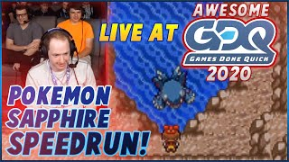 Pokemon Sapphire Speedrun Live At Awesome Games Done Quick 2020! (with Commentary!)