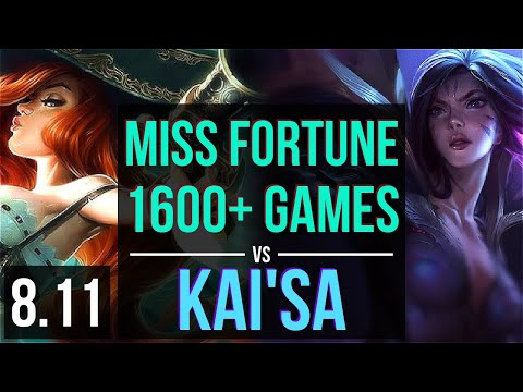 MISS FORTUNE vs KAI'SA (ADC) ~ 1600+ games, KDA 10/0/7, Legendary ~ Korea Master ~ Patch 8.11