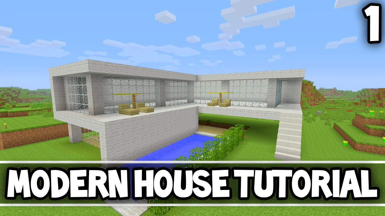 Minecraft simple modern house tutorial part 1 xbox 360 for Modern house 8 part 10