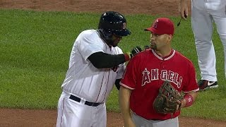 LAA@BOS: Papi and Pujols horse around at first base