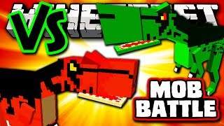 T-REX VS ALOSAURUS - Minecraft Batalha de Mobs - Mutant Creatures e Girlfriend Mods