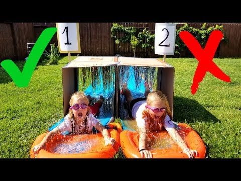 DON'T Water Slide Through The WRONG Mystery Box!!!!