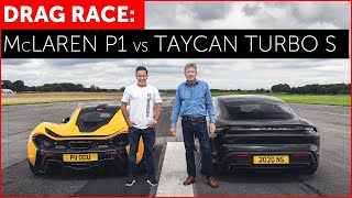 DRAG RACE - McLaren P1 vs Porsche Taycan Turbo S - REAL WORLD!